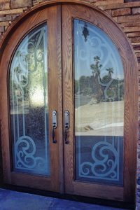 Sans Soucie Entry Door Inserts with Etched Carved and Gluechipped Glass Mediterranean