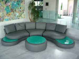 Coffee Tables with Glass Back Painted by Sans Soucie