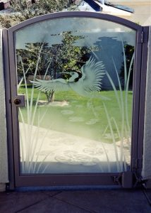 Exterior Gate with Frosted Glass Asian Wildlife Tropical by Sans Soucie