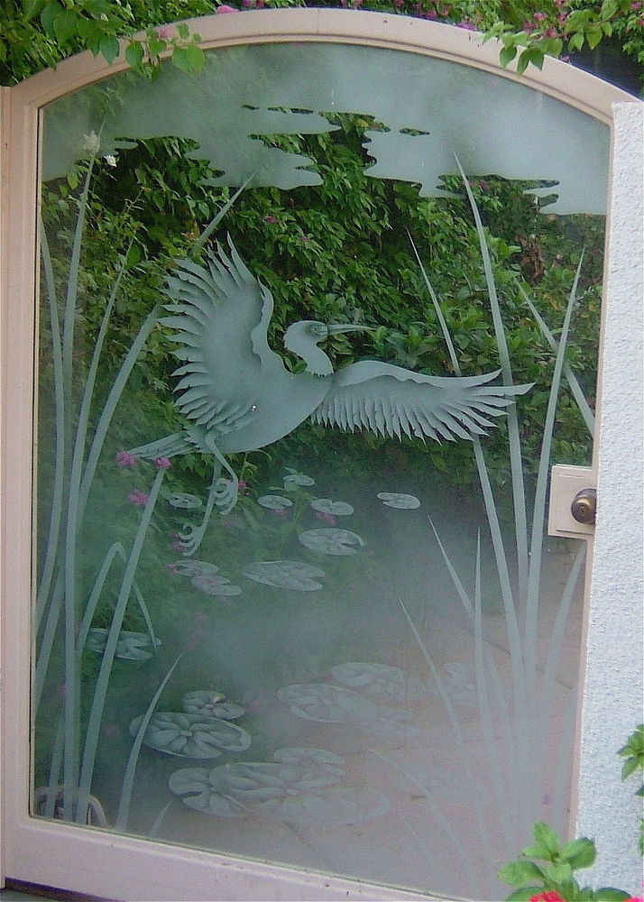 Exterior Gate with Etched Glass Asian Wildlife Tropical by Sans Soucie