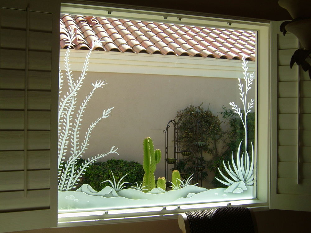 Decorative Window with Etched Glass Western Rustic ocotillo by Sans Soucie