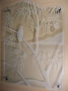 Glass Wall Art with Glass Carving tree and bird by Sans Soucie