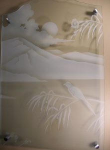 Glass Wall Art with Glass Carving mountains by Sans Soucie
