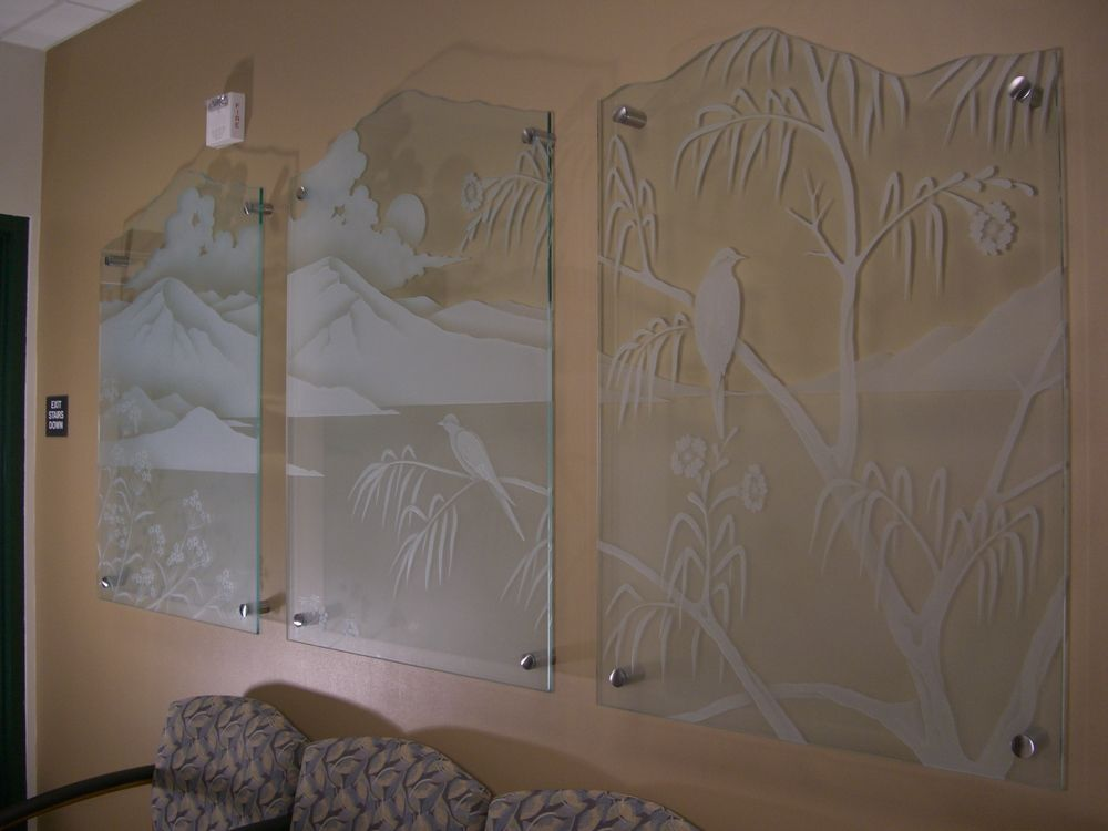 Glass Wall Art with Glass Carving by Sans Soucie