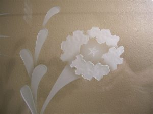 Sans Soucie Glass Wall Art with Glass Carving flowers