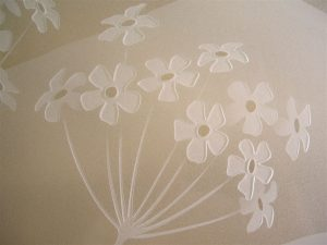 Glass Wall Art with Glass Carving flowers by Sans Soucie