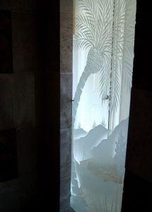 glass shower panels glass etching western decor aloe plants desert serenity sans soucie