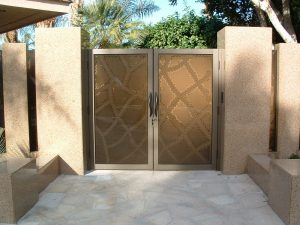 Sans Soucie Entry Gate with Etched and Carved Glass Moroccan Pattern