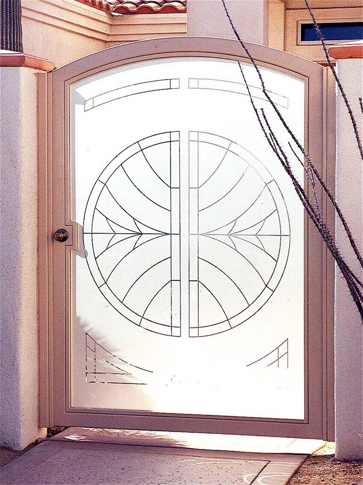 Glass gate gate glass solid etched dreamcatcher design