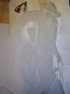 custom showers frosted glass western design mountains rider easy now sans soucie