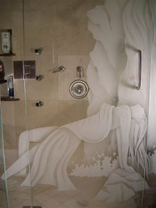 glass shower doors etching glass eclectic style beautiful woman ecstasy ll sans soucie