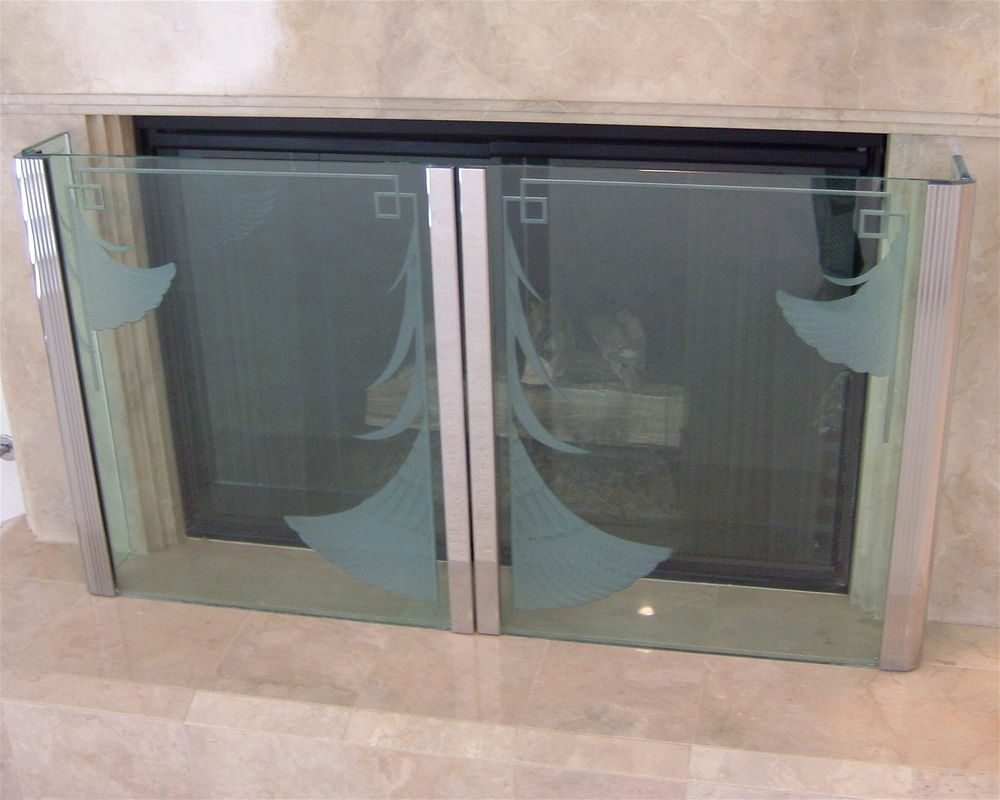 Carved Glass Feather Fans Design Etched Glass Fireplace screen