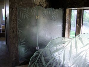 frameless glass shower doors glass etching tropical style leaves nature ferns sans soucie