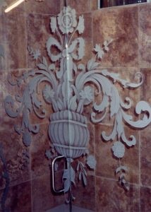 glass shower enclosures glass etching French decor ornate design filigree flowers sans soucie