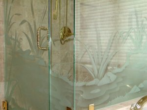 glass shower doors glass etching rustic decor outdoors foliage flowing stream sans soucie