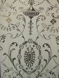 glass etching Victorian style intricate patterns hanging lace sans soucie