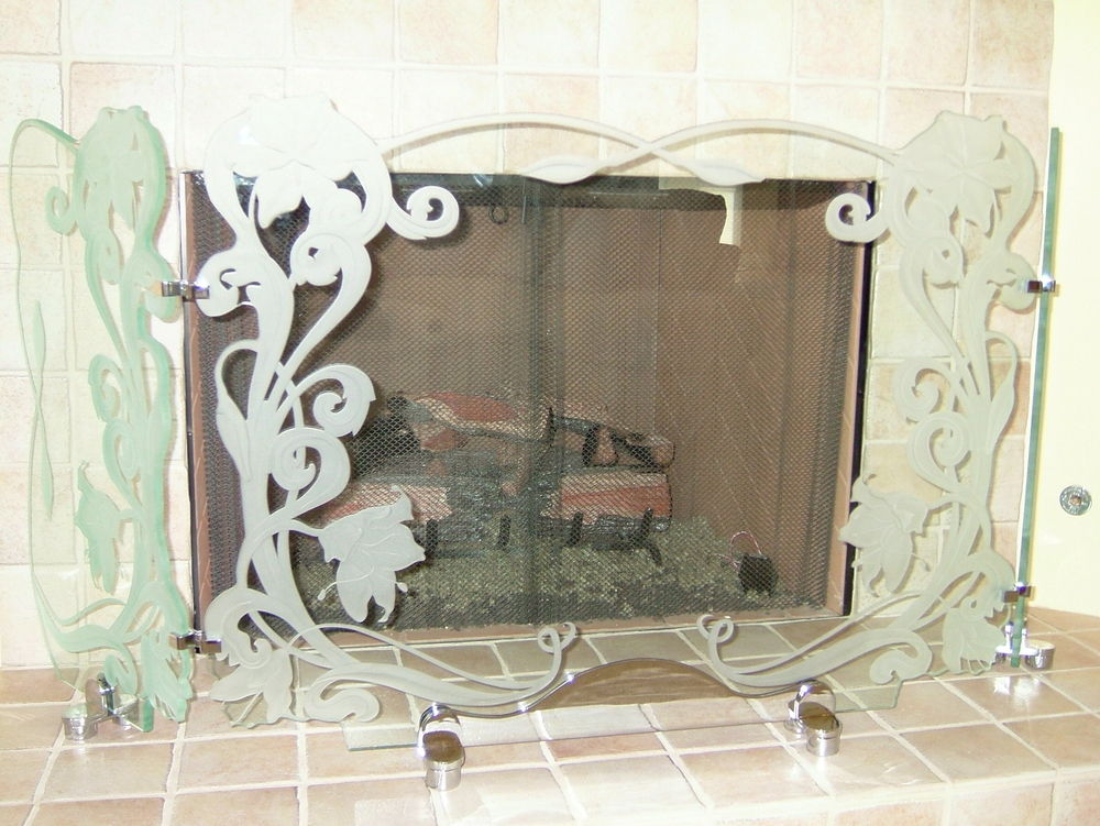 Carved and etched hibiscus & Ribbon Fireplace screen Glass Fireplace screen
