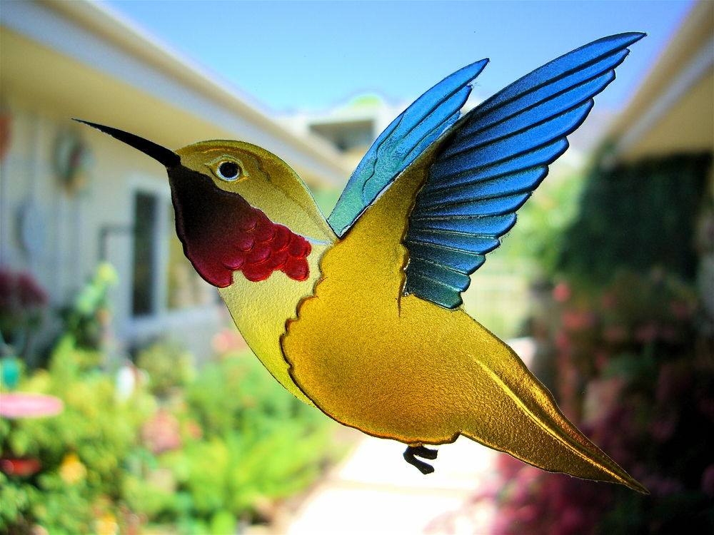 Hummingbird Lovers 3d Door Glass Inserts Sans Soucie