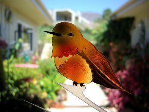 Glass Door Inserts with Etched Wildlife Orange Hummingbird Lovers Sans Soucie