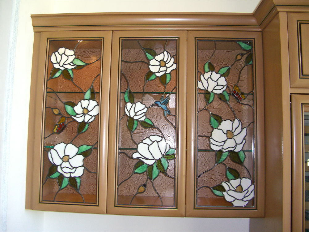 Bon Stained Glass Cabinet Inserts Hummingbirds By Sans Soucie ...