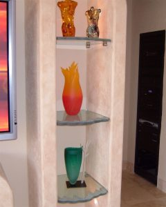 Shelving with Carved Etched Glass with Chiseled Edges Rustic Beach Coastal by Sans Soucie