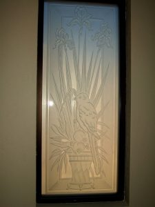 glass window etched glass English country style birds flowers iris perch sans soucie