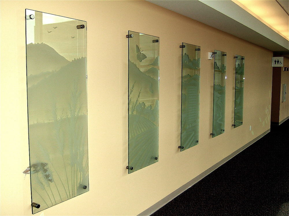 Glass Wall Art :: Carved & Shaded Glass Wall Art :: Kaiser Hospital ...