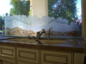 Painted and Craved Etched Glass Landscape Desert View by Sans Soucie