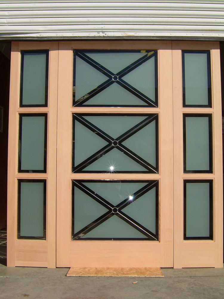 leaded glass frosted etched glass door