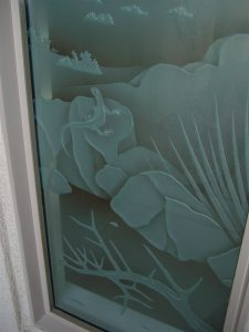 glass window glass etching western style outdoors hills living desert sans soucie