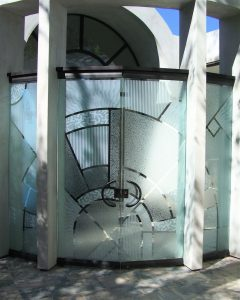 Pair Frameless Glass Doors Glass Etching Carved and Gluechipped Modern Contemporary matrix by Sans Soucie