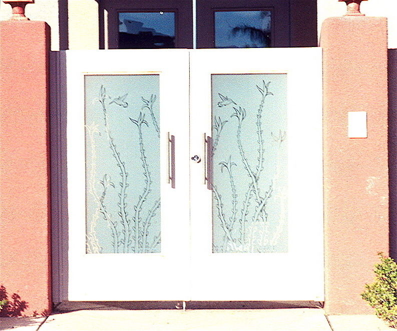 Etched and Frosted Occotillos & Birds Design gate glass