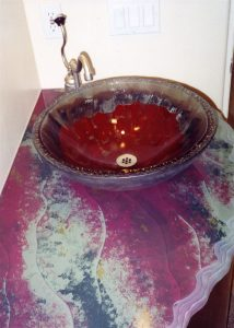 Sans Soucie Vanity and Sink with Painted and Carved Glass