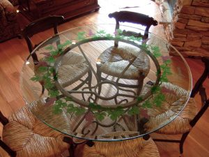 Sans Soucie Dining Tables with Carved and Painted Glass Tuscan Mediterranean