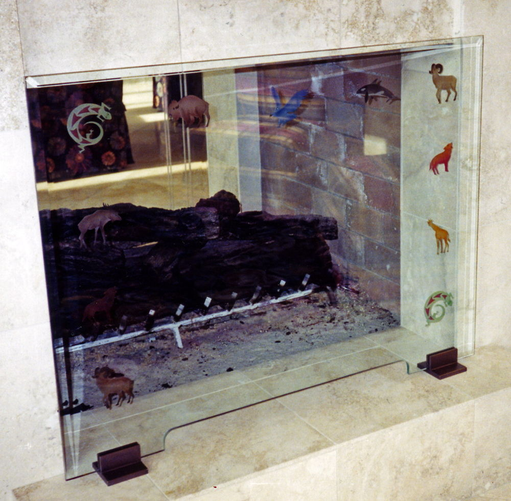 glass fireplace screen  carved  painted petroglyphs fireplace  - petroglyphs fireplace screen Â«