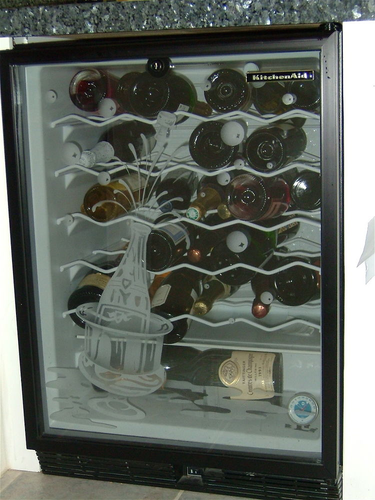 decorative glass etched wine refrigerator door champagne bottle popping