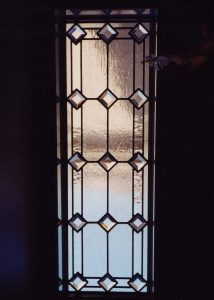 glass window beveled glass Tuscan decor shapes patterns seedy diamonds sans soucie