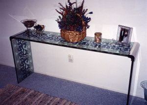 Sans Soucie Console Tables with Painted and Carved Glass Royal Iron