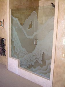 glass shower etching glass rustic style rolling hills rugged retreat l sans soucie