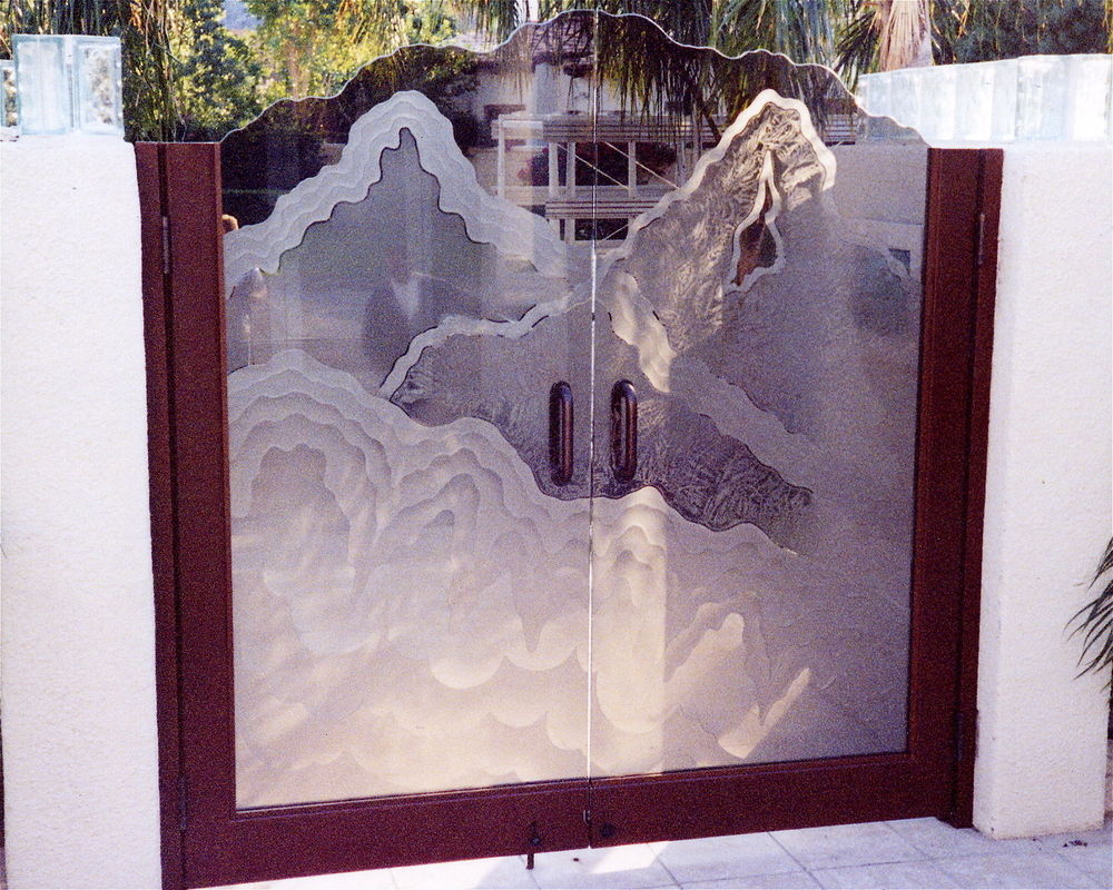 Entry Gate Insert Panels Carved and Etched Glass Rustic Eclectic by Sans Soucie