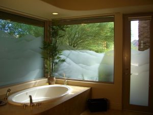 glass window sandblasted glass western style rolling hills mountains shaded sans soucie