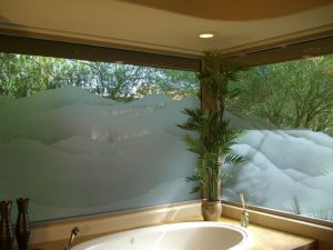 glass window glass etching western style hills outdoors mountains shaded sans soucie