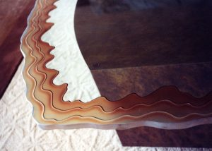 Sans Soucie Coffee Tables with Carved and Painted Glass Rustic Beach Coastal