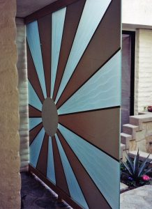 Sun Beam Outdoor Freestanding Partitions with Painted and Carved Glass sun beam