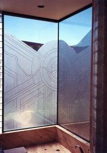glass window glass etching art deco style geometric shapes sun odyssey shower sans soucie