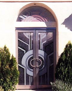 Double Entry Door and Window Etched Glass Contemporary Sans Soucie