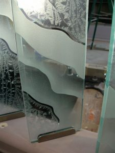 Partitions Glass Pony Wall Gluechipped and Etched Surges by Sans Soucie
