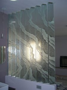 Partitions Glass Pony Wall Etched and Gluechipped Surges by Sans Soucie