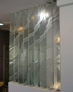 Partitions Pony Wall Gluechipped and Etched Glass Surges by Sans Soucie