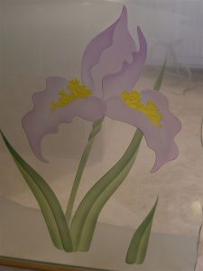 custom glass English country style flowers ferns swan song sans soucie
